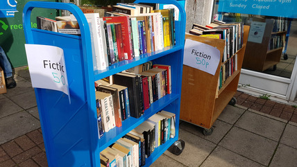 Books on Sale Outside Library
